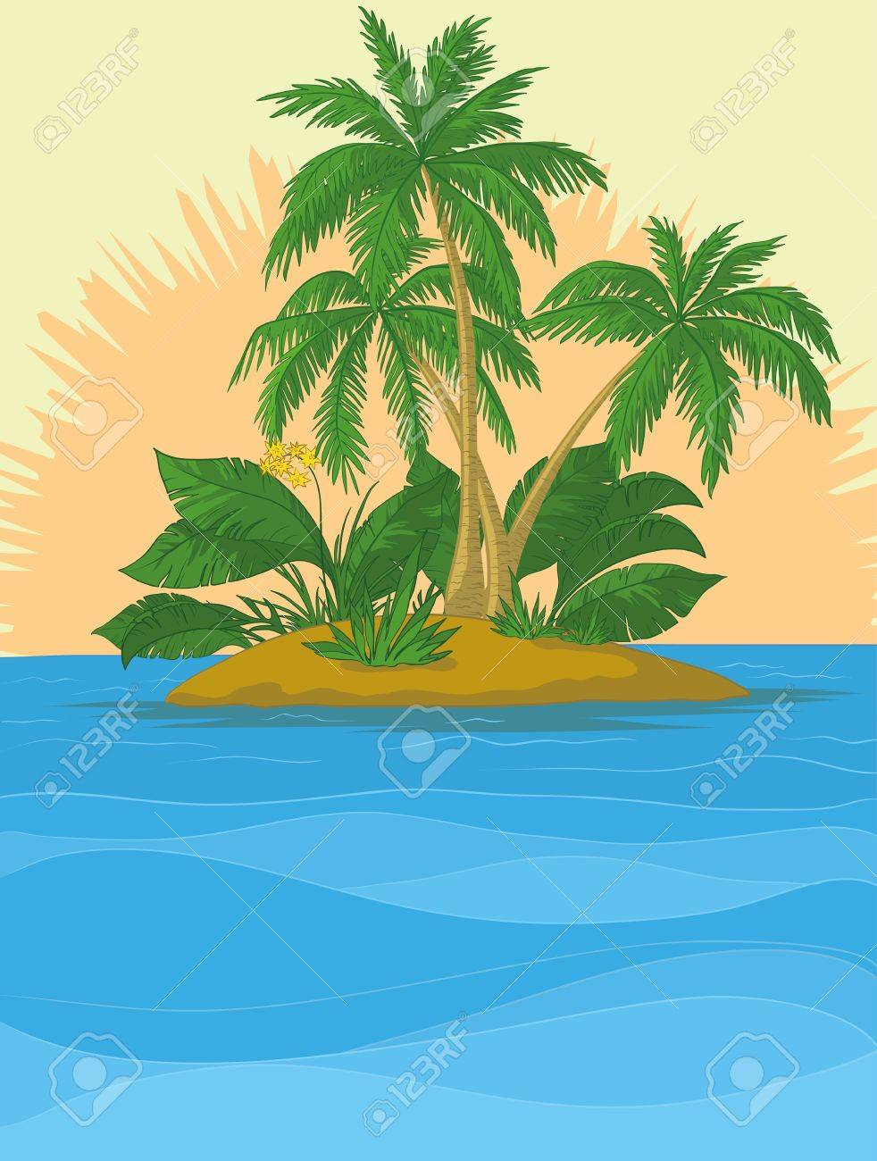 Tropical sea island with palm trees and sun. Vector Stock Vector - 10980174