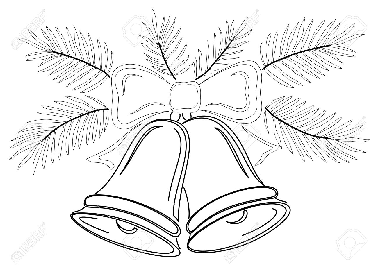 Christmas decoration, symbolical pictogram, contours: bells with bow and fir branches. Vector Stock Vector - 10980180