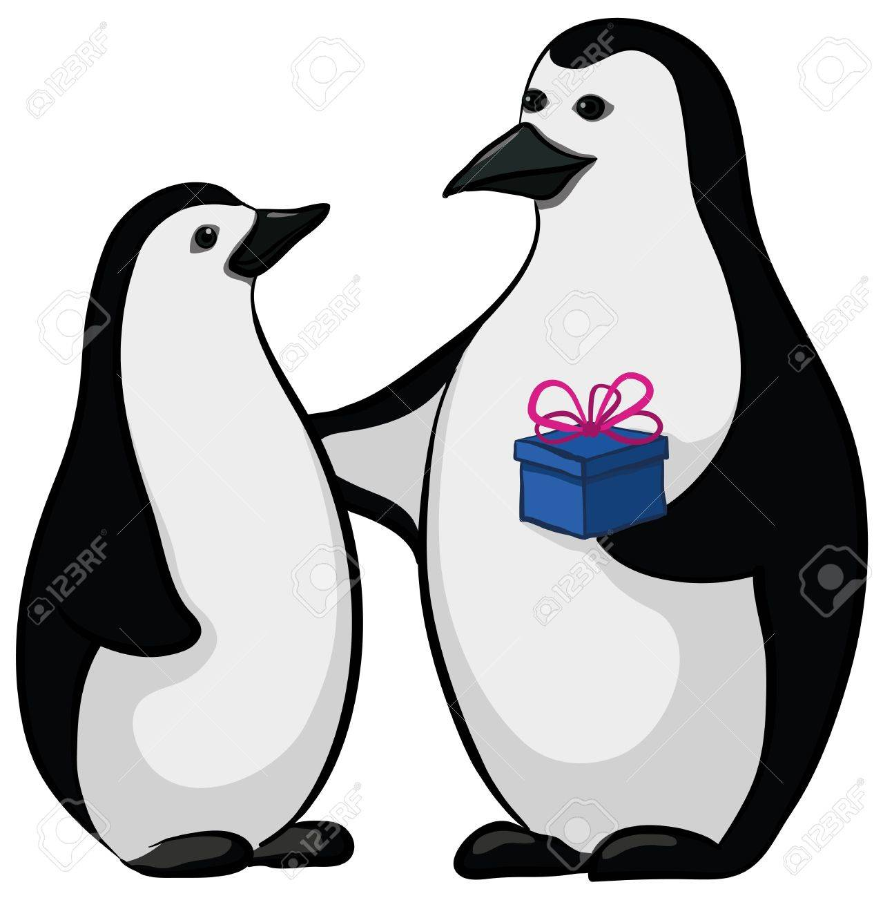 Antarctic black and white emperor penguins with a festive gift box. Stock Vector - 11039731