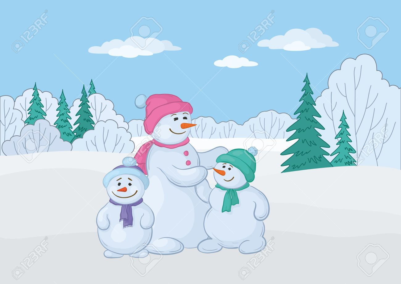 Christmas cartoon: snowmens mother and childrens in the winter forest. Stock Vector - 11039734