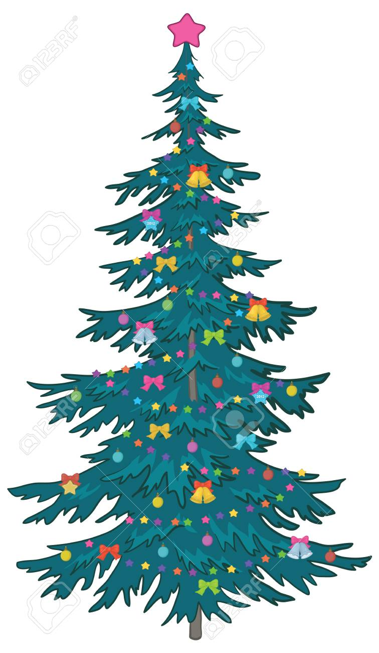 Christmas holiday tree with ornaments, isolated on white. Stock Vector - 11039740