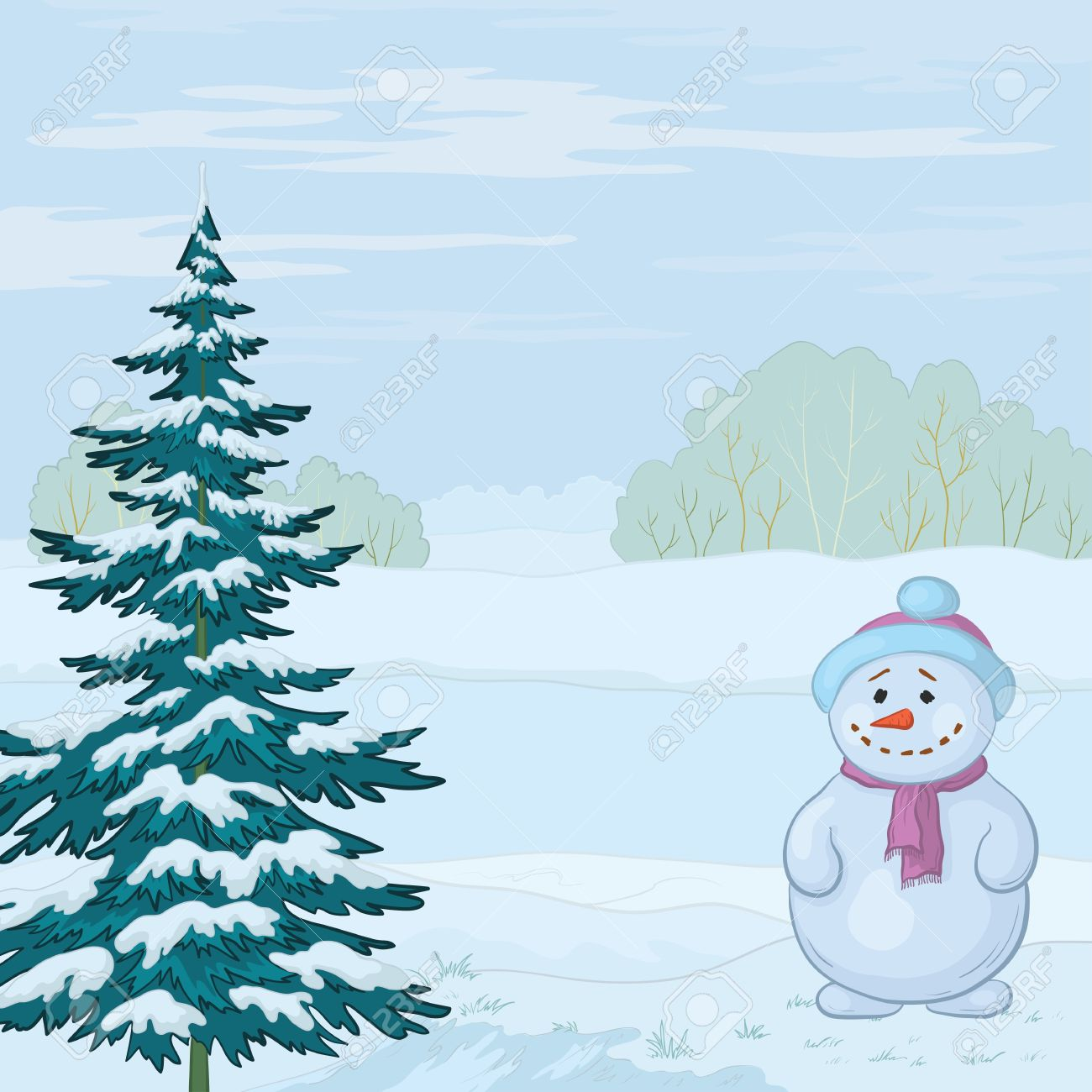 Snowman and Christmas tree on the bank of the winter forest river. Vector Stock Vector - 11100006
