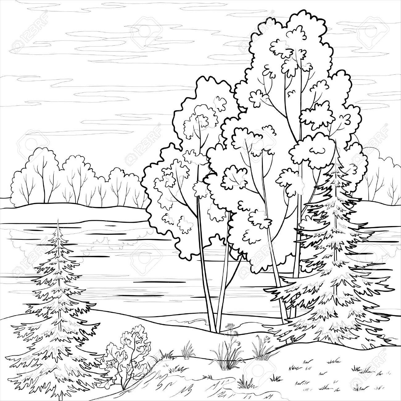 Пейзаж в черно-белой графике