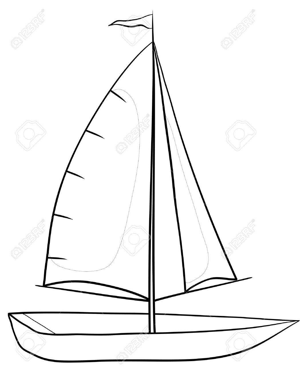 sailing boat with a flag on the mast monochrome contours on