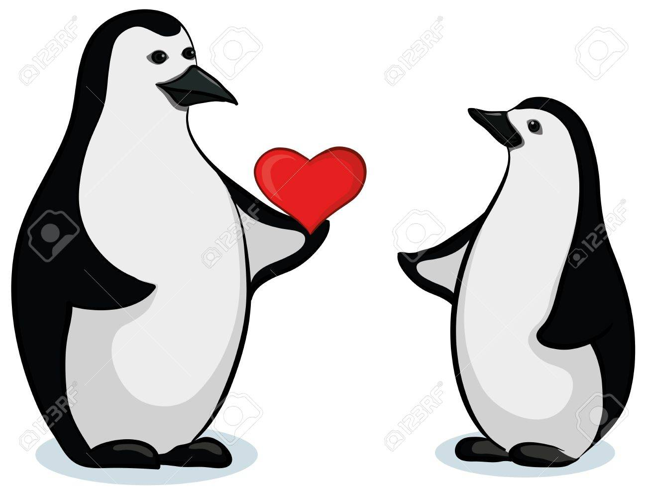 Antarctic black and white emperor penguins with Valentine red heart. Vector Stock Vector - 11529424
