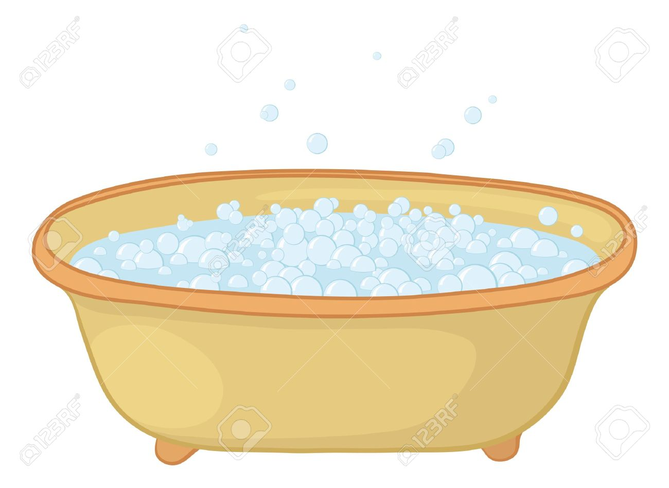Old Bathtub With Blue Bubbles Of Soap Suds. Royalty Free Cliparts ...