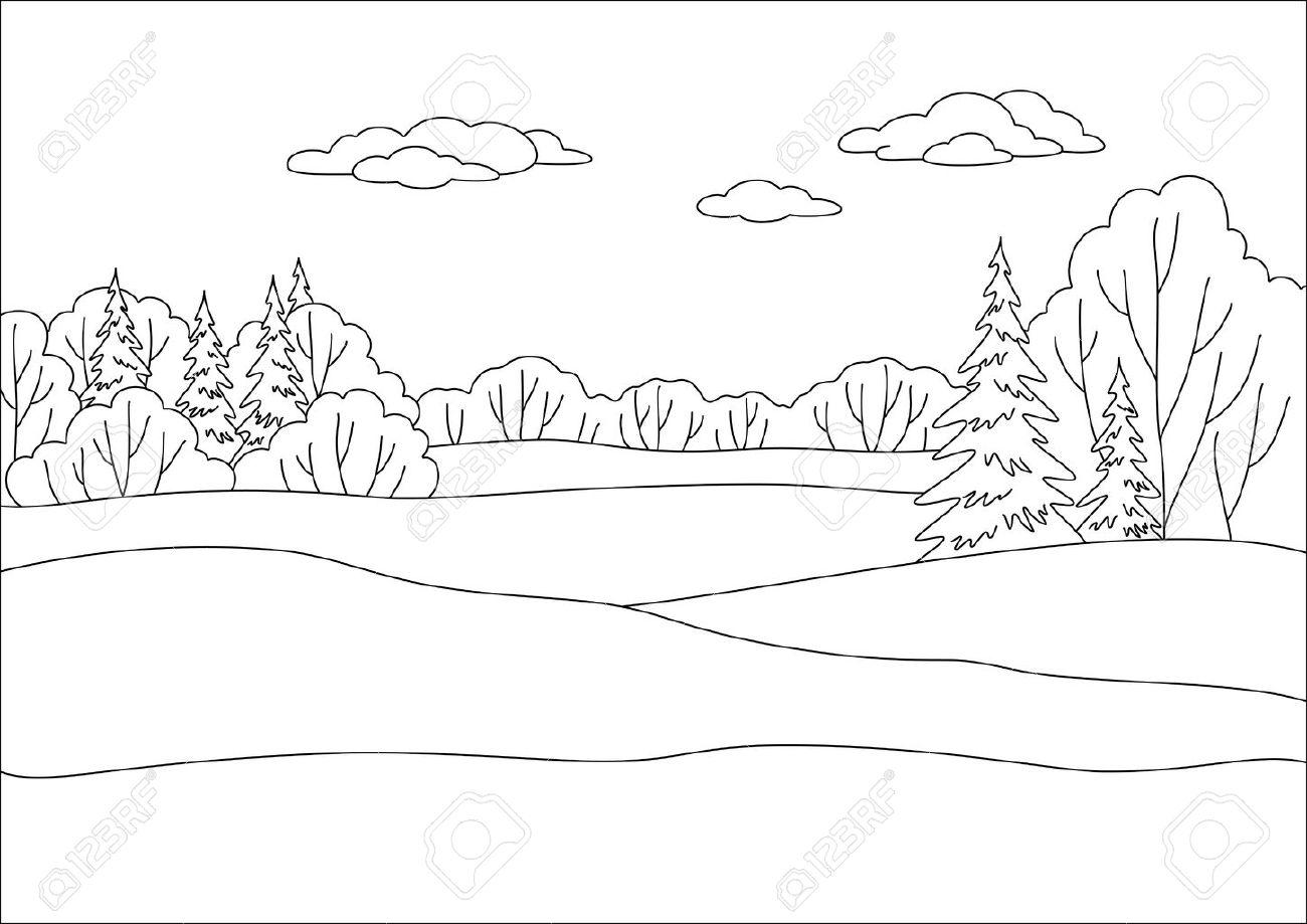 Картинки осеннего пейзажа карандашом лес 2