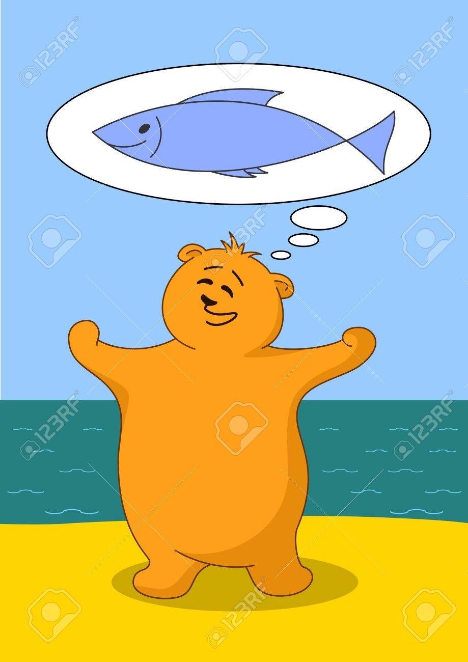 Teddy bear fisherman on seacost dreaming about big fish Stock Vector - 12233572