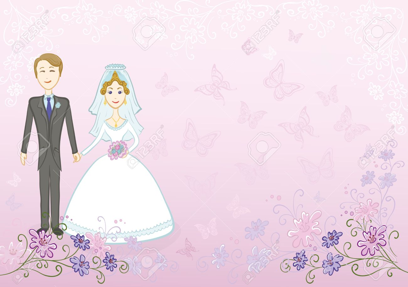 Cartoon, Wedding, The Bride And Groom On A Pink Background With ...