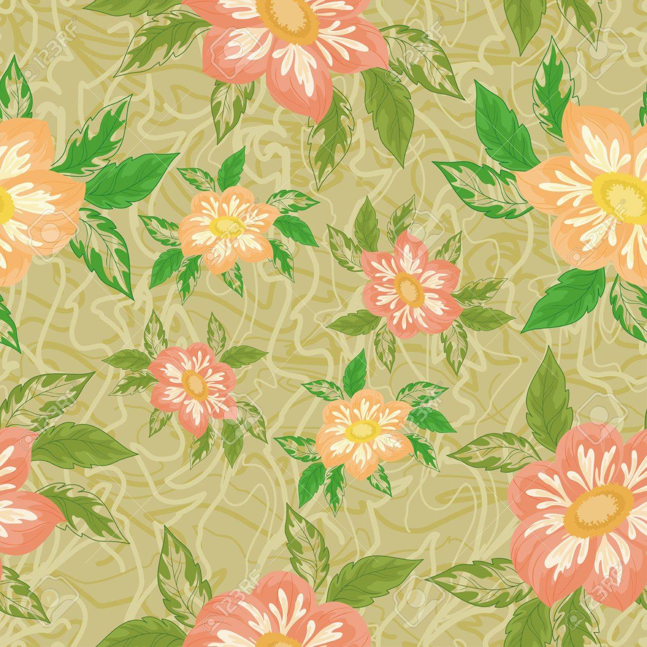Seamless background with flowers and leaves dahlia Stock Vector - 13045277