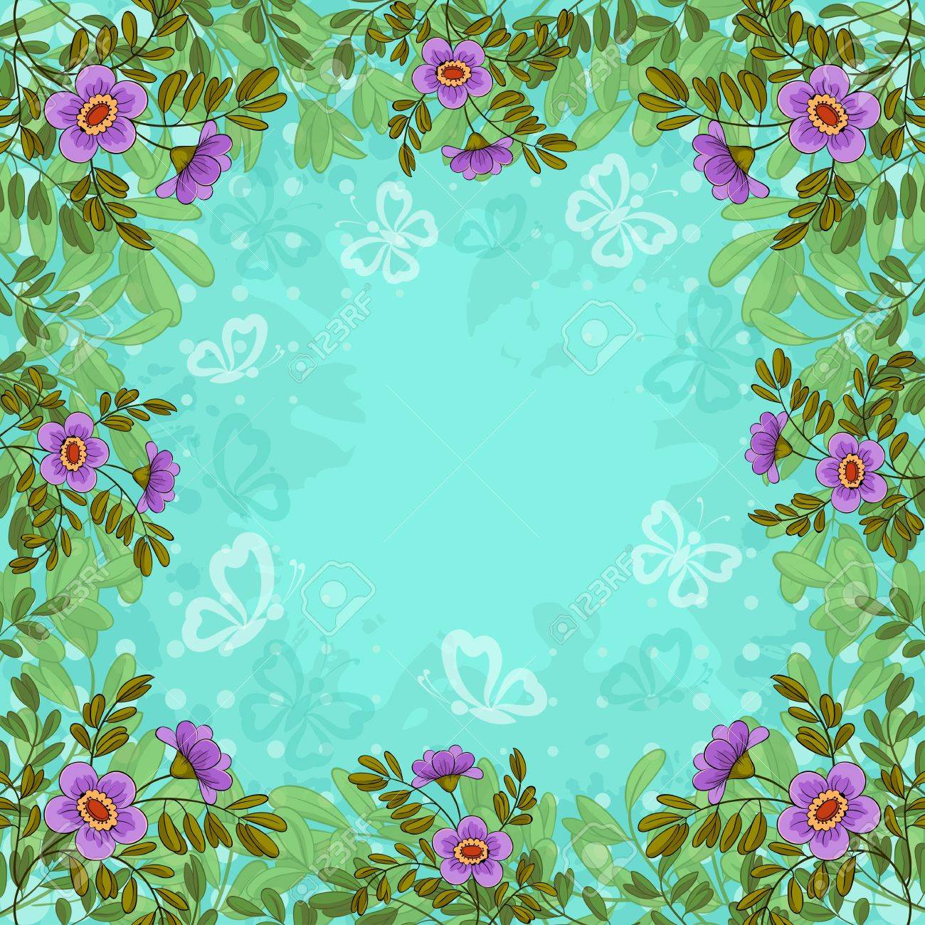 Summer flowers, lives and butterflies silhouettes on background of blue sky Stock Vector - 13515858