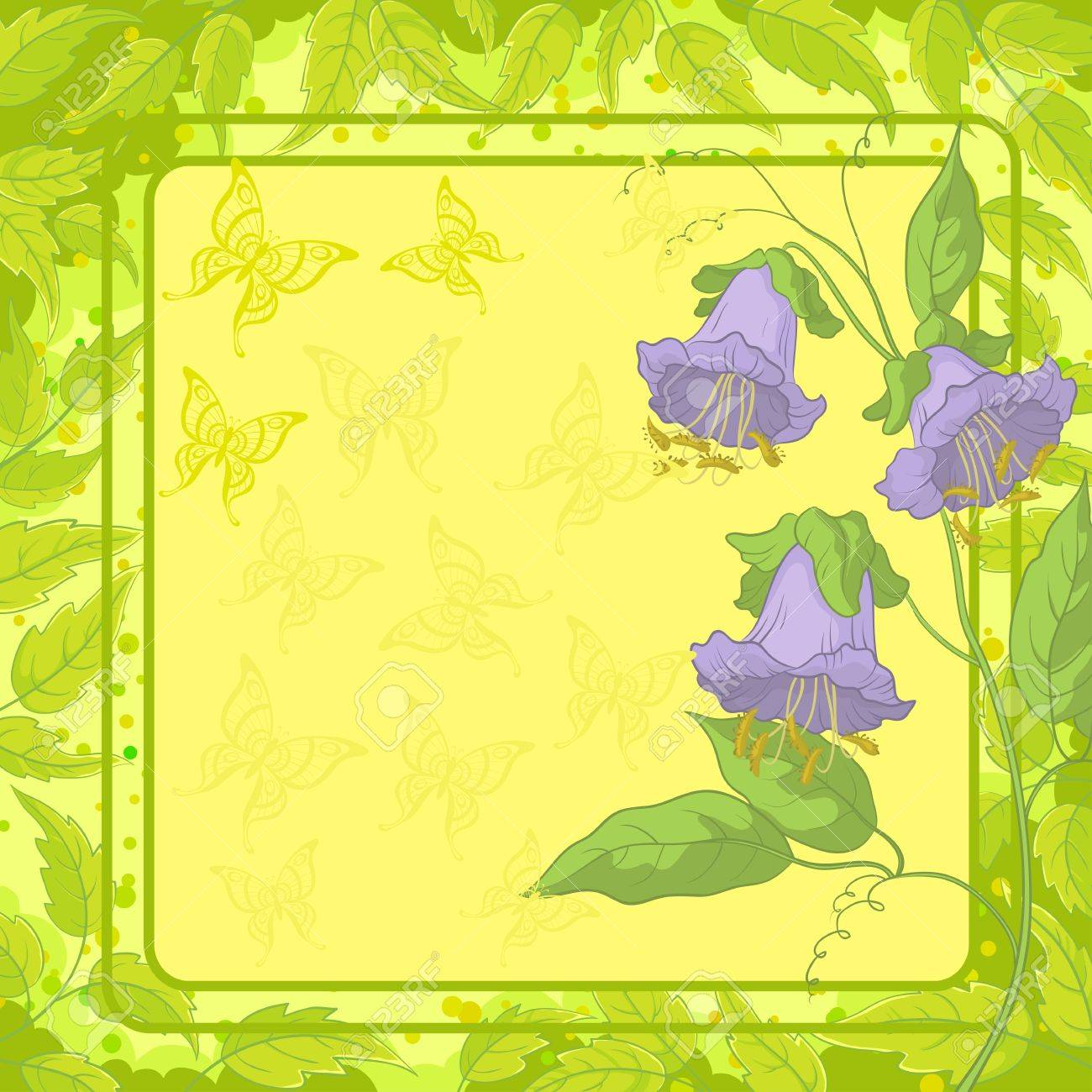 Kobe flowers on yellow background with frame, butterfly and green leaves illustration Stock Vector - 13599761