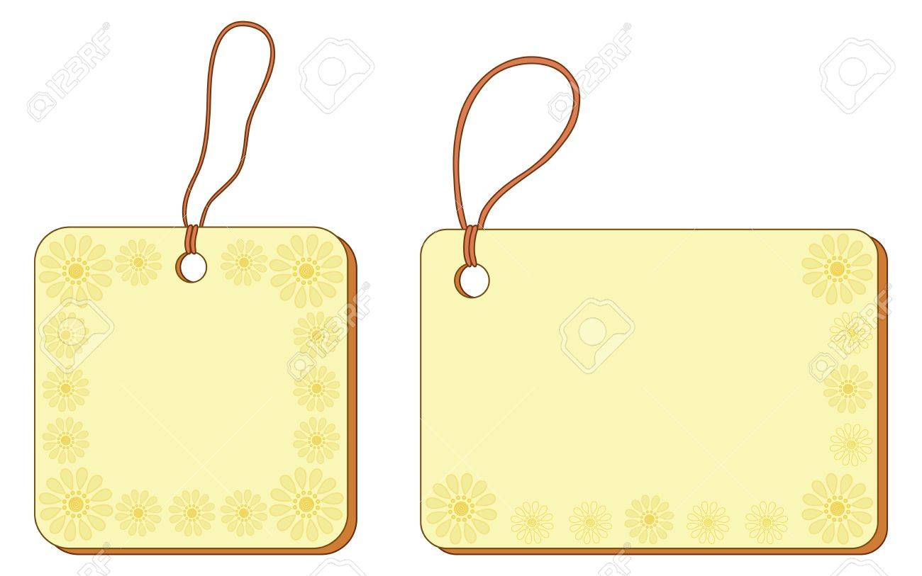 Yellow labels tags, square and rectangle, with floral pattern and ropes  Vector Stock Vector - 13742372