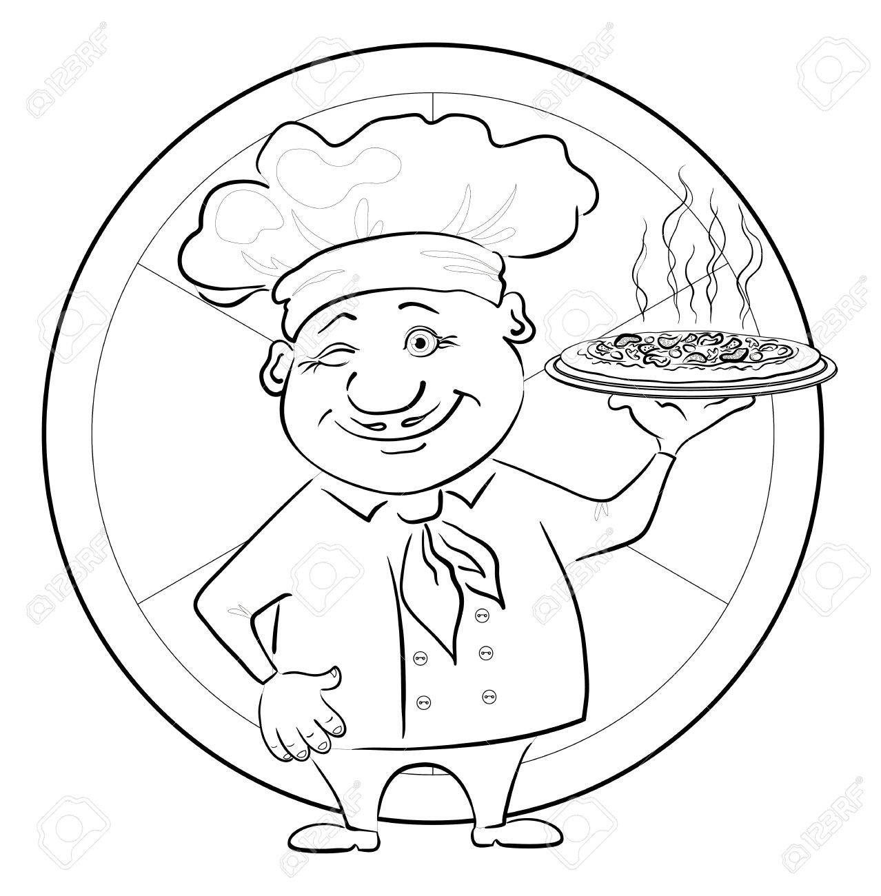 Cartoon cook - chef with delicious hot pizza on a circular background, black contour on white background illustration Stock Vector - 13837162