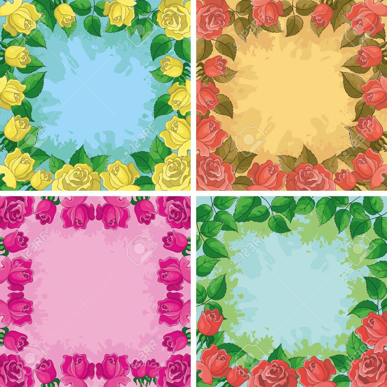 Set holiday floral backgrounds, frames from flowers roses Stock Vector - 14130106