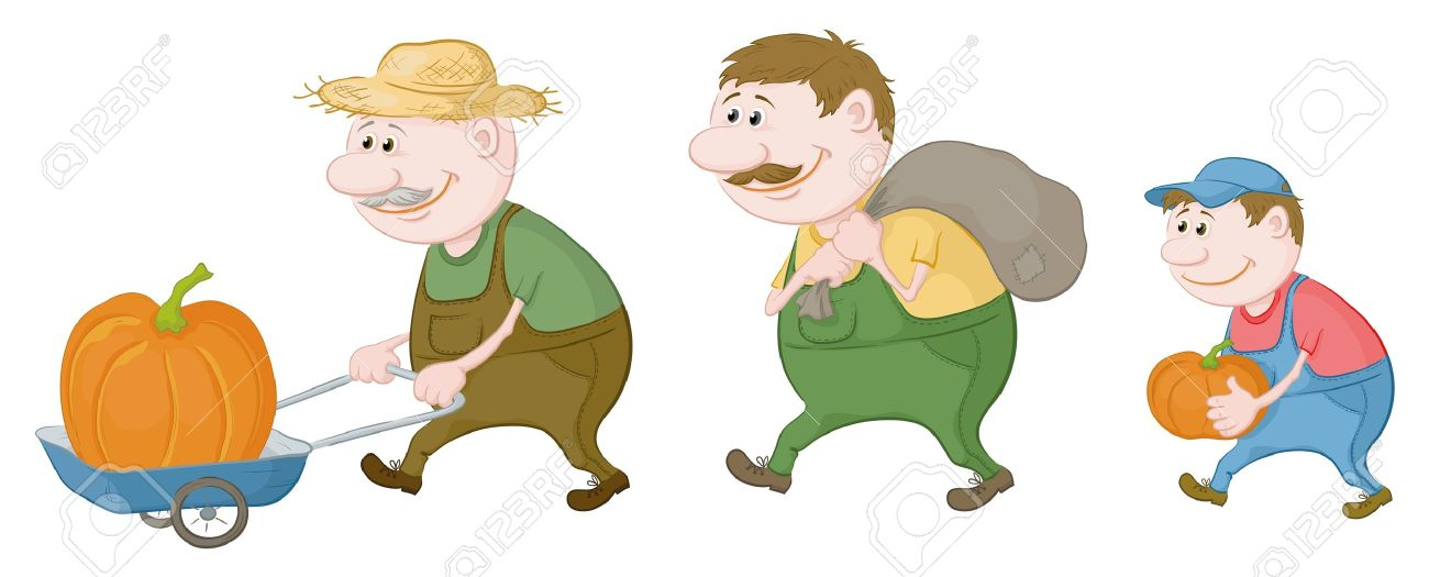Cartoon  grandfather, son and grandson farmers with the harvest of pumpkins, carry on a cart and carry Stock Vector - 14252578