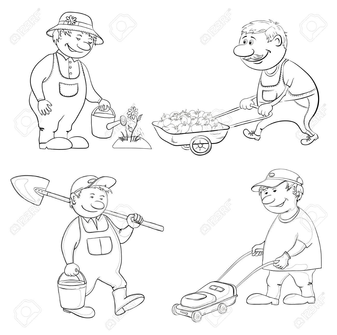 Cartoon  gardeners work  watering a flower, carries trolley, with a bucket and spade, with a lawnmower  Black contour on white  Vector Stock Vector - 14265956