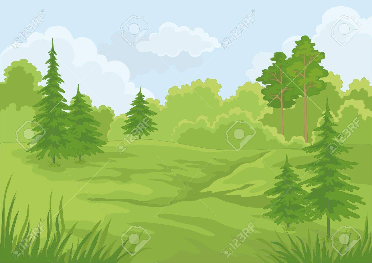 Landscape  summer green forest and blue sky illustration Stock Vector - 14288120