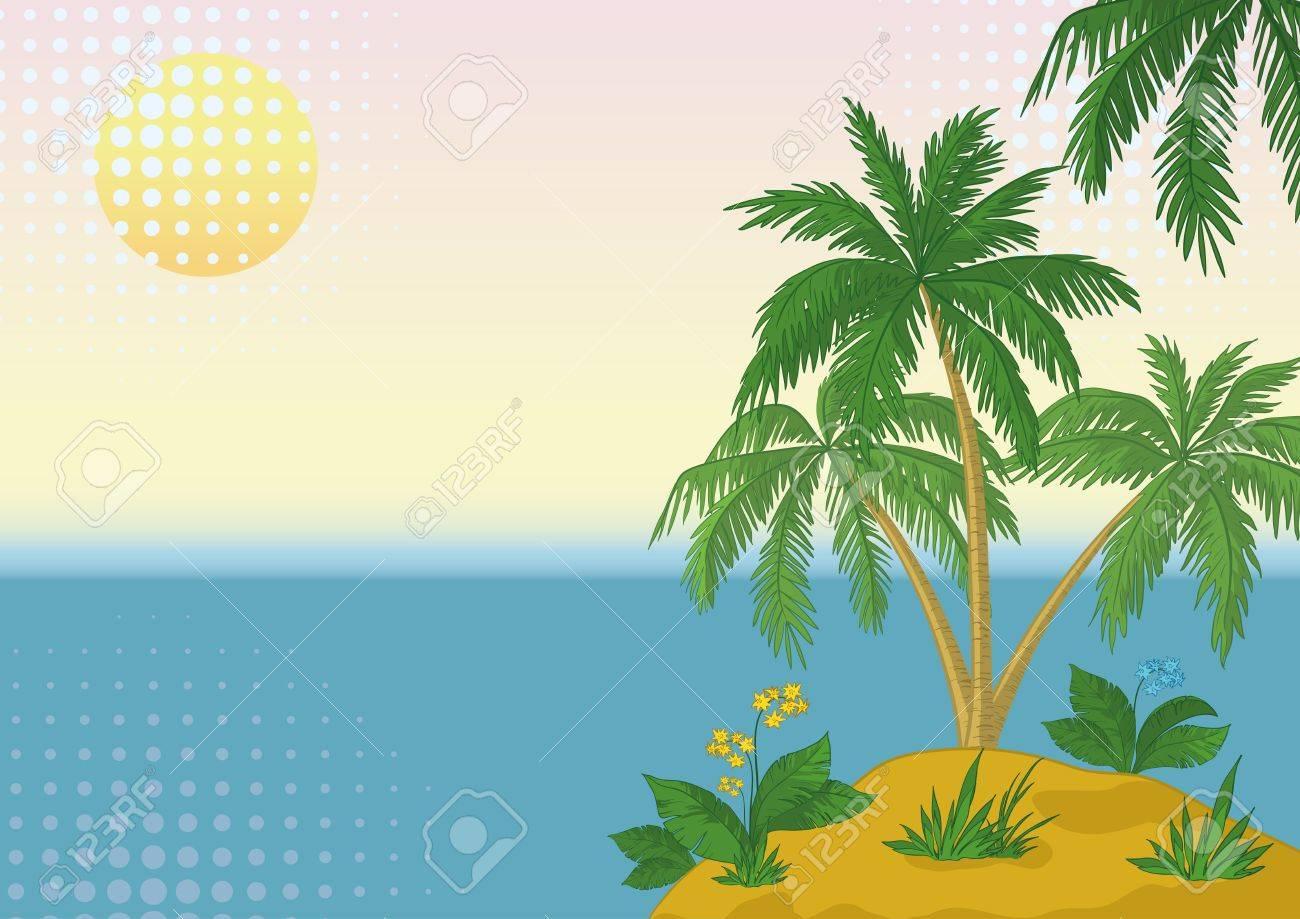 Business card tropical sea island with palm trees and flowers business card tropical sea island with palm trees and flowers vector stock vector 14309164 colourmoves