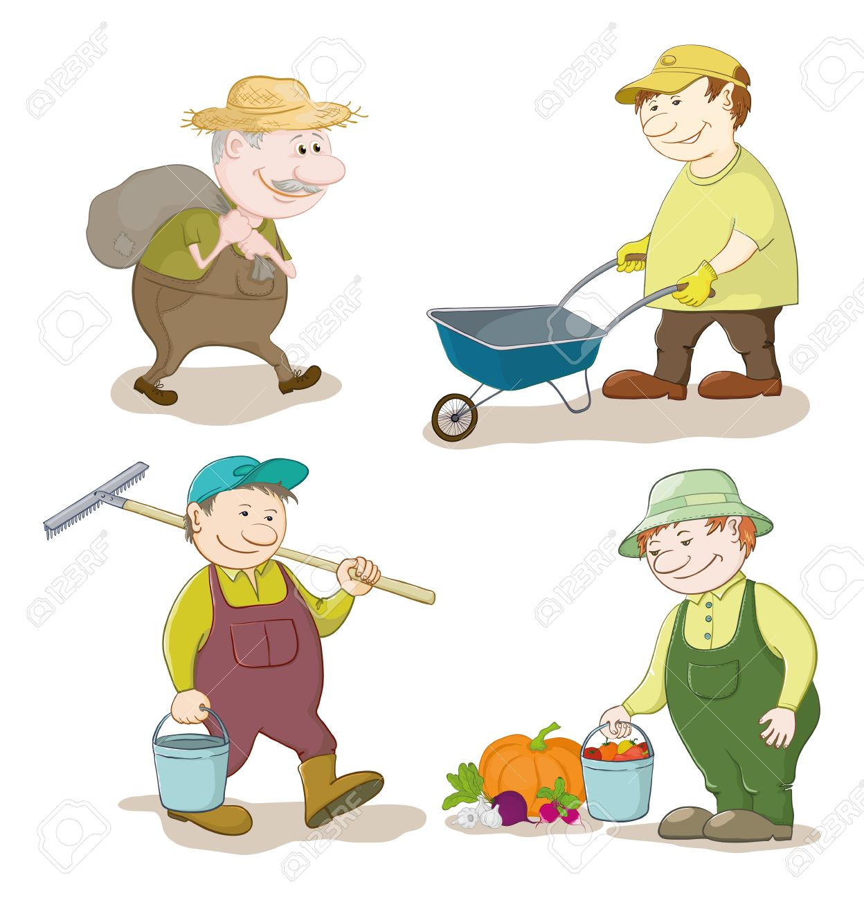 Cartoon gardeners work  carries a sack, carries empty trolley, carries a bucket and a rake, with the harvest of vegetables  Vector Stock Vector - 14309167