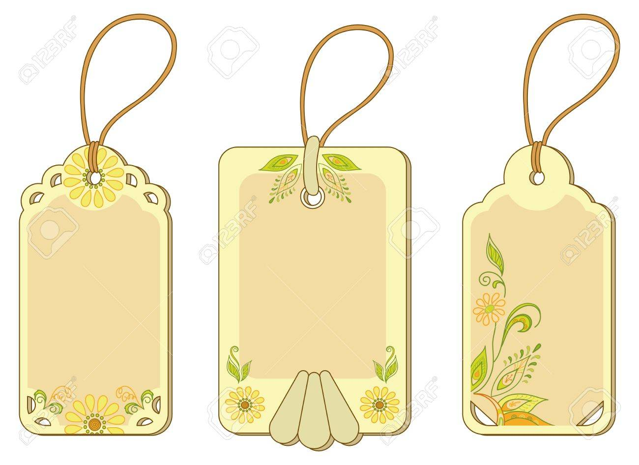 Set yellow and beige labels tags with floral pattern and ropes  Vector Stock Vector - 14351097