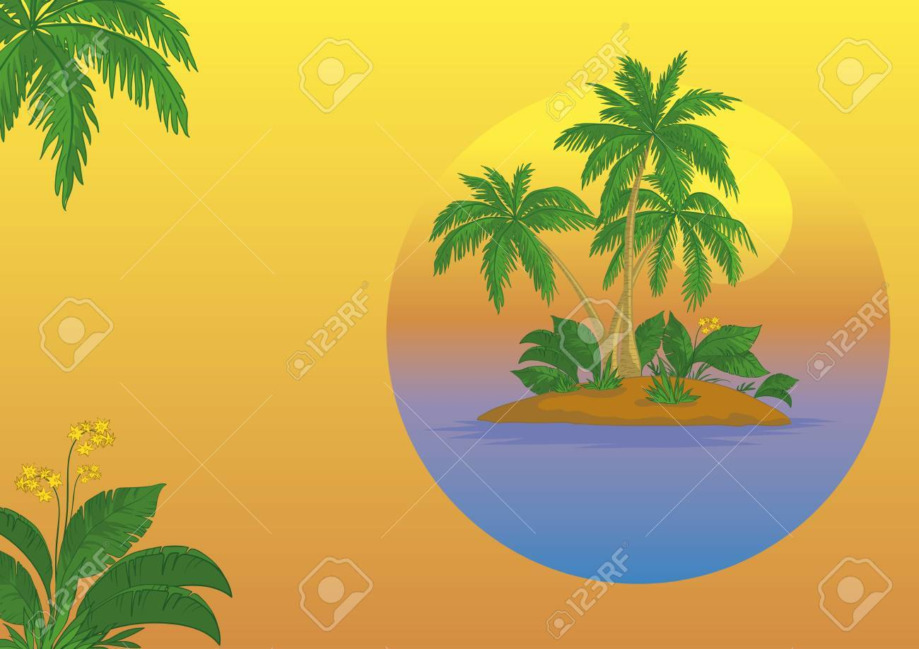 Business card, tropical sea island with palm trees and flowers Stock Vector - 14402698