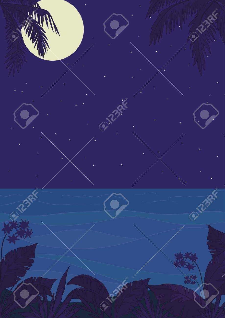 Exotic tropical ocean landscape with moon night sky, palm trees leaves and flowers  Vector Stock Vector - 14475556