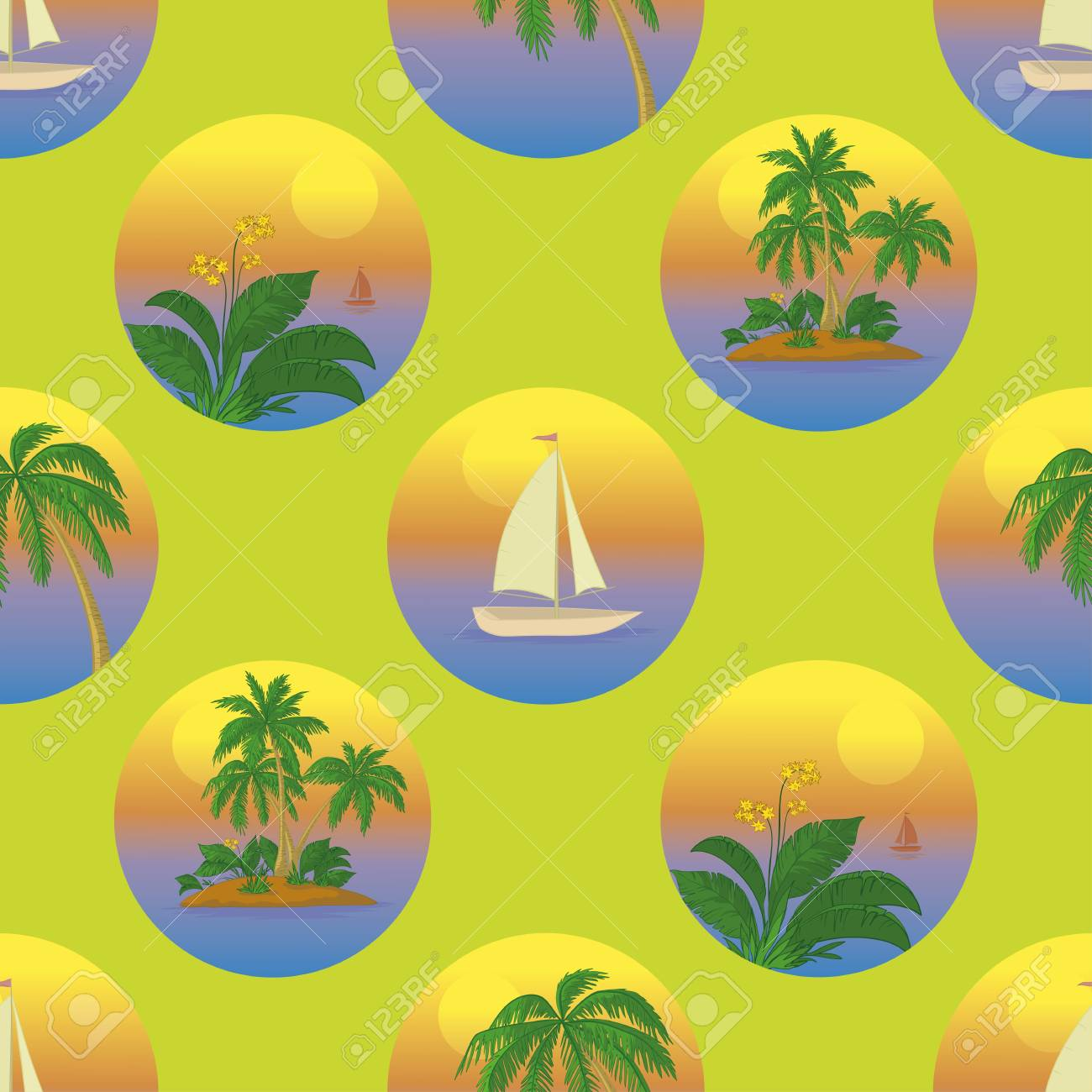 Seamless tropical background with a sailboat at sea, palms and flowers  illustration Stock Vector - 14510756