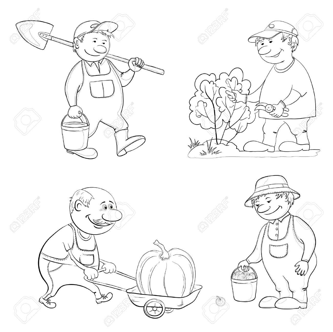 Cartoon Pics of Gardening Cartoon Gardeners Work With a