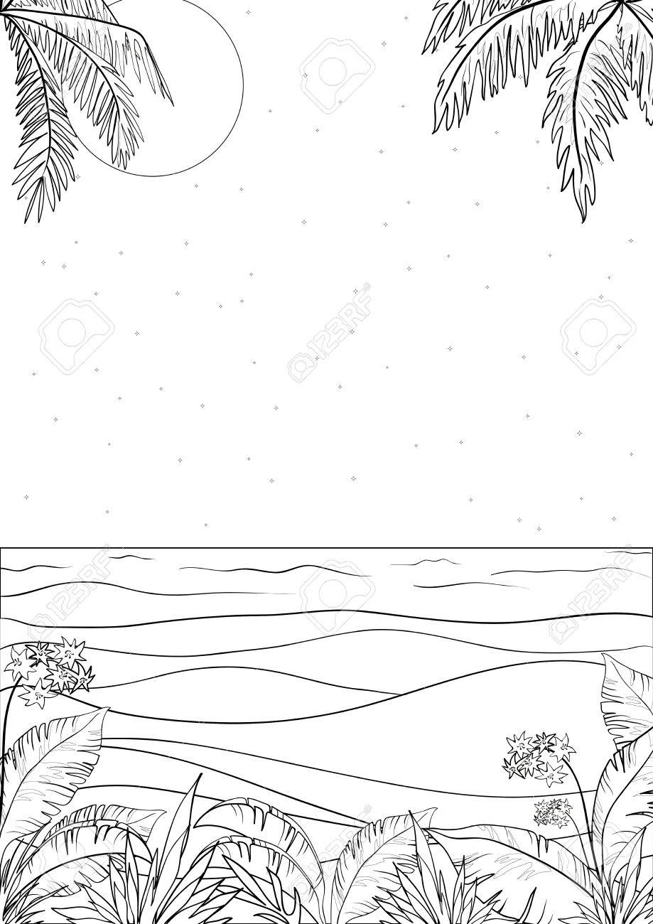 Exotic tropical ocean landscape with moon night sky, palm trees leaves and flowers, black contour on white background  illustration Stock Vector - 14558045