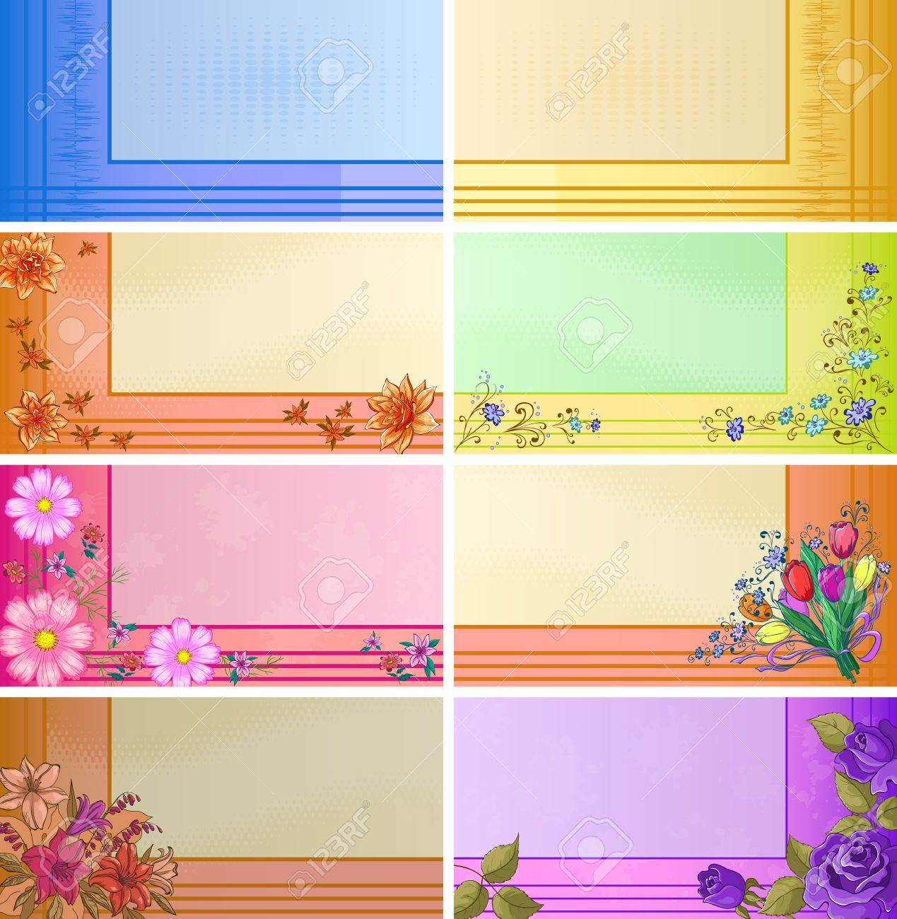 Set of business cards with various modern patterns and flowers Stock Vector - 14653762