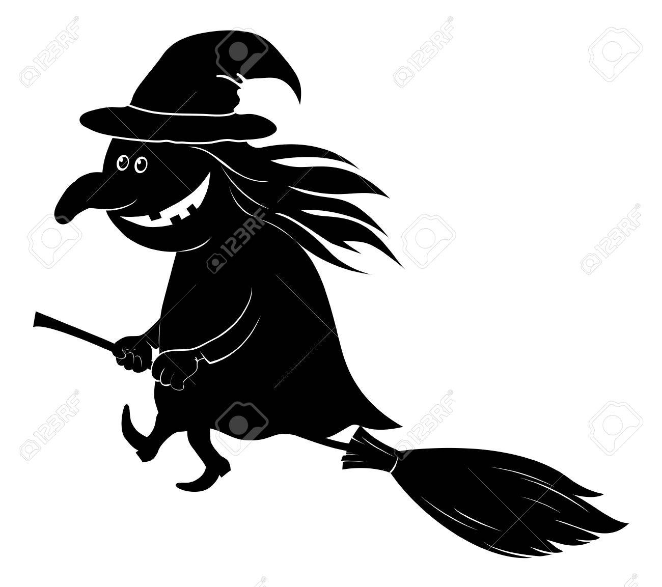 Witch Flying On Broom The Image Of A Holiday Halloween Black