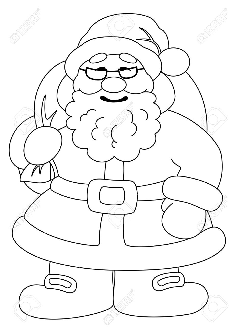 Christmas Images Cartoon Black And White.Christmas Cartoon Santa Claus With A Bag Of Gifts Black Contour