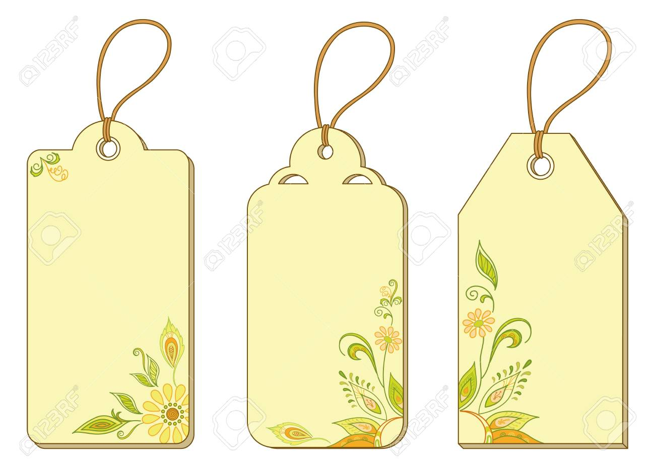 Set of labels tags with floral pattern and ropes Stock Vector - 14829727