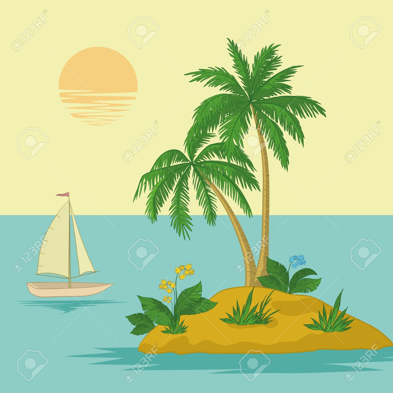Ship, sun, tropical sea island with palm trees and flowers Stock Vector - 14829729