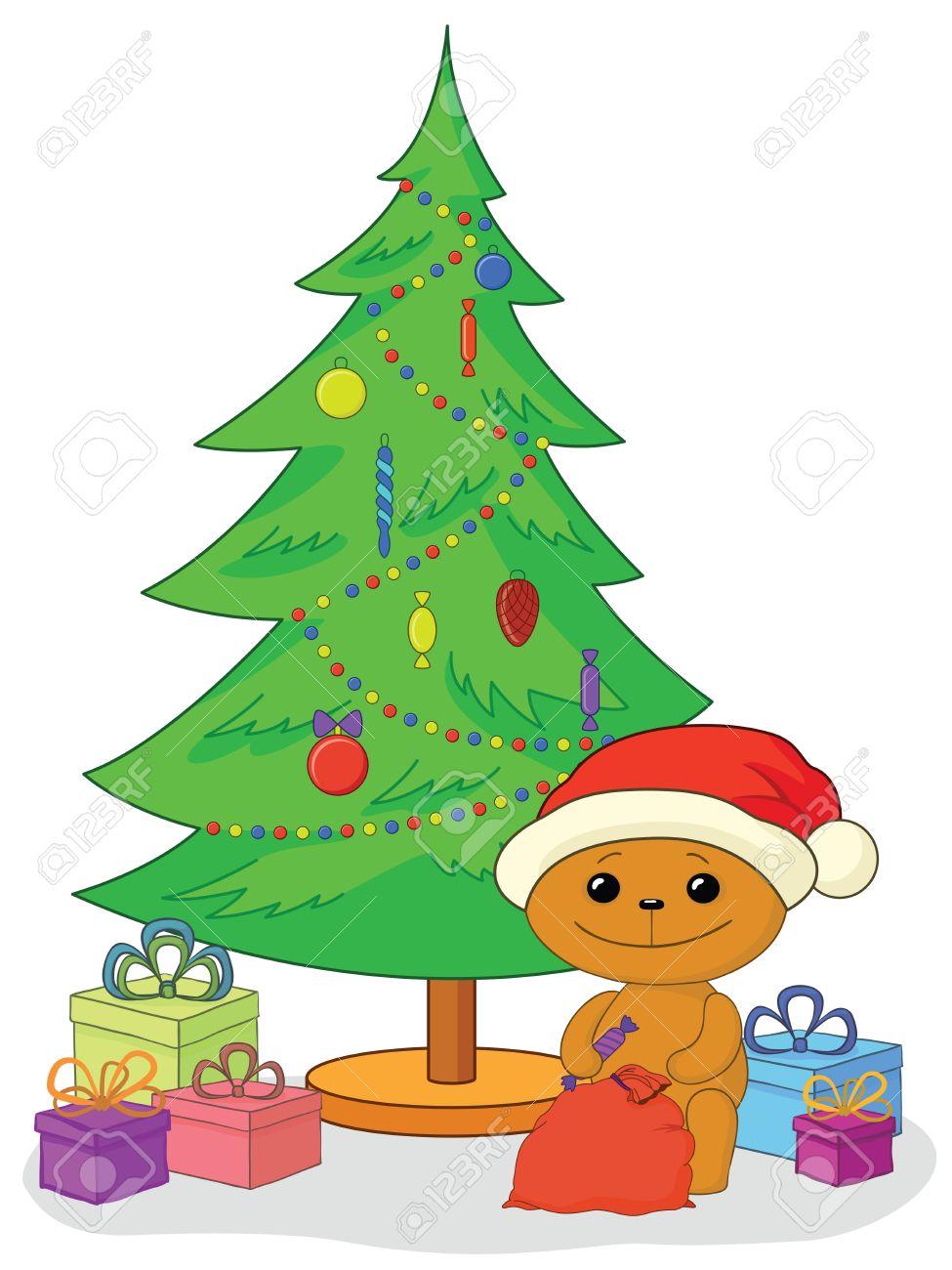 Holiday cartoon, teddy bear Santa Claus with gifts under the Christmas tree  Vector Stock Vector - 14900543