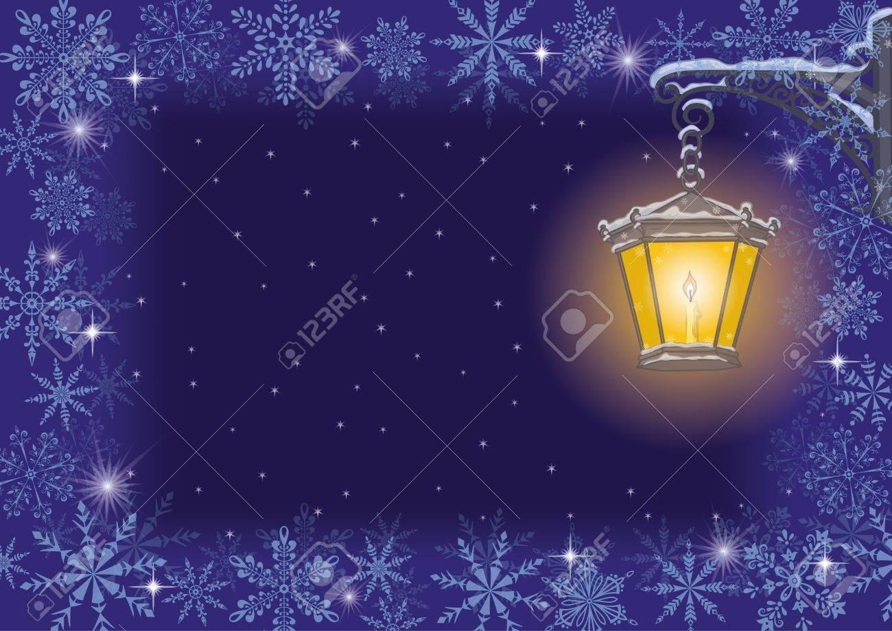 Tarjeta De Navidad De La Vendimia Lámpara De Calle En Un Soporte ...