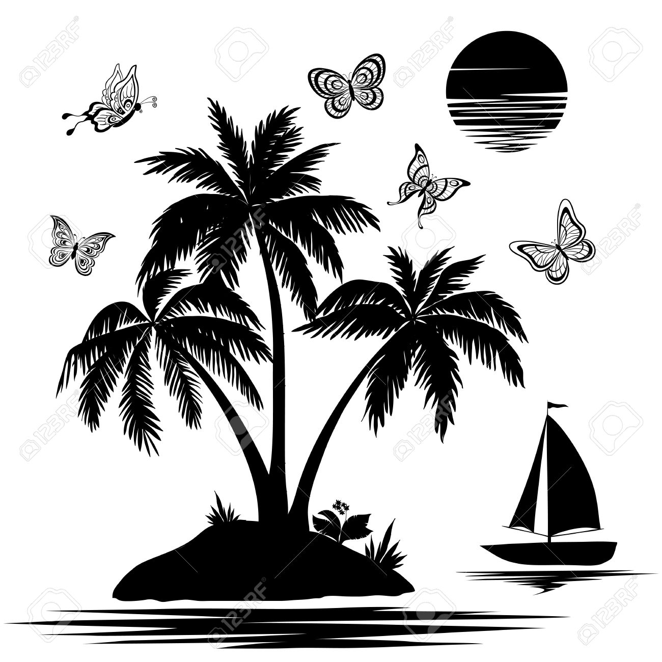 Tropical sea island with palm trees and flowers, ship, butterflies and sun  Set black silhouettes and contours on white background Stock Vector - 15049372