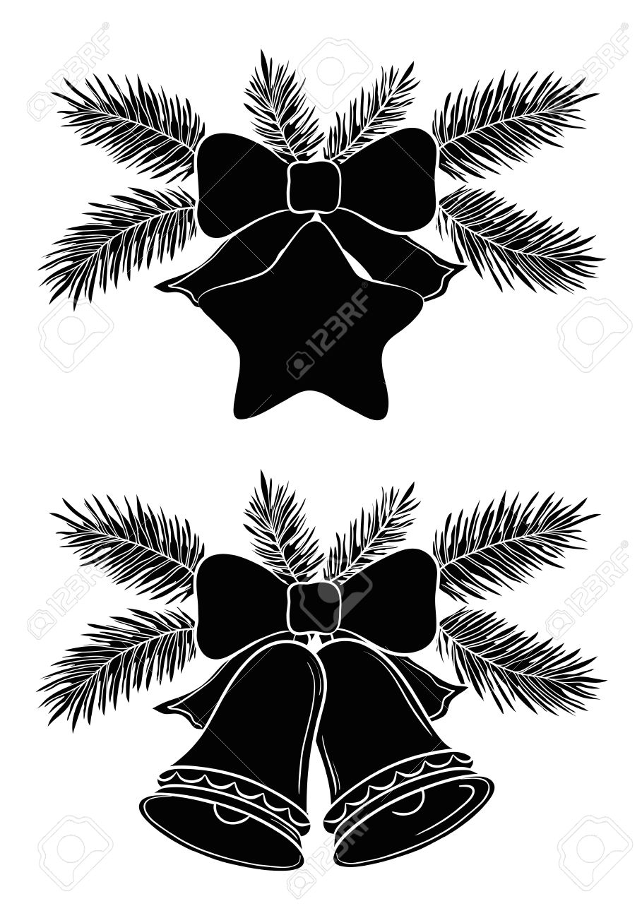 Christmas Decorations Bells And Star With Bows And Fir Branches ...