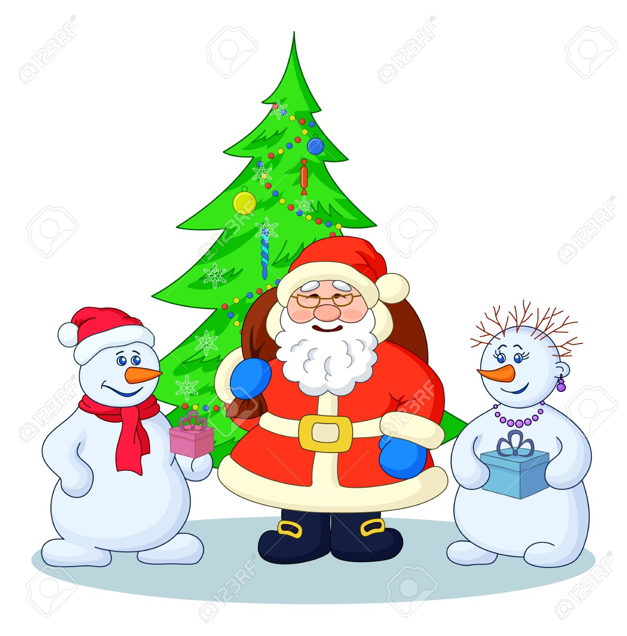 holiday cartoon santa claus christmas tree and snowmans with a gift boxes illustration stock illustration - Holiday Cartoon Images
