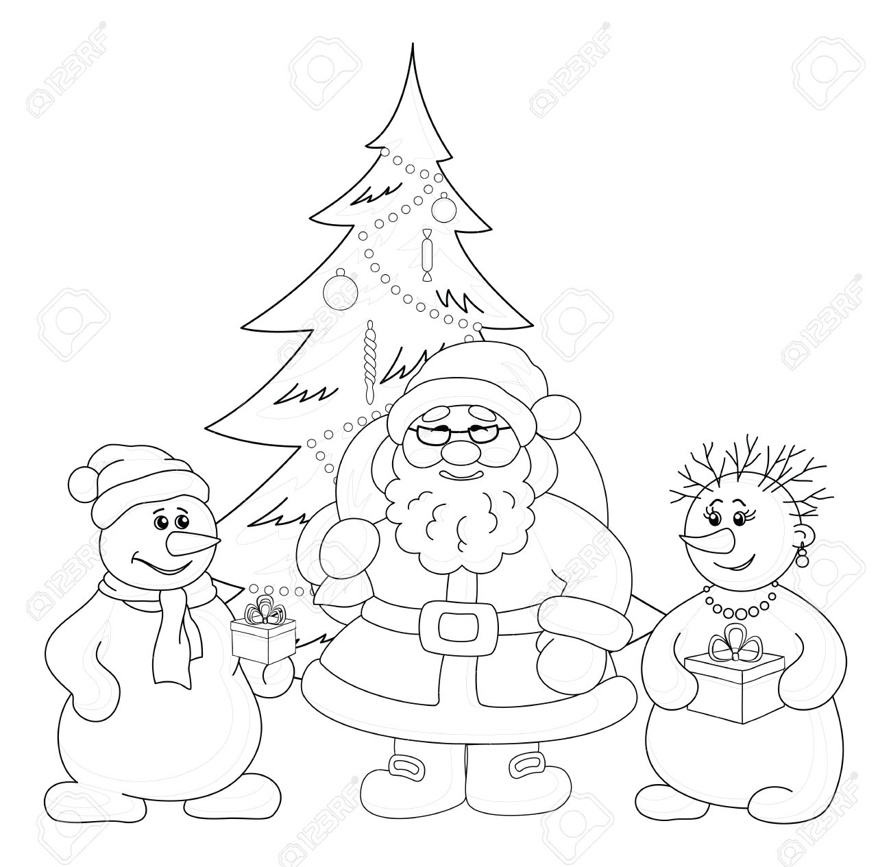 Holiday cartoon  Santa Claus, Christmas tree and snowmans with a gift boxes, black contour on white background Stock Vector - 15259596