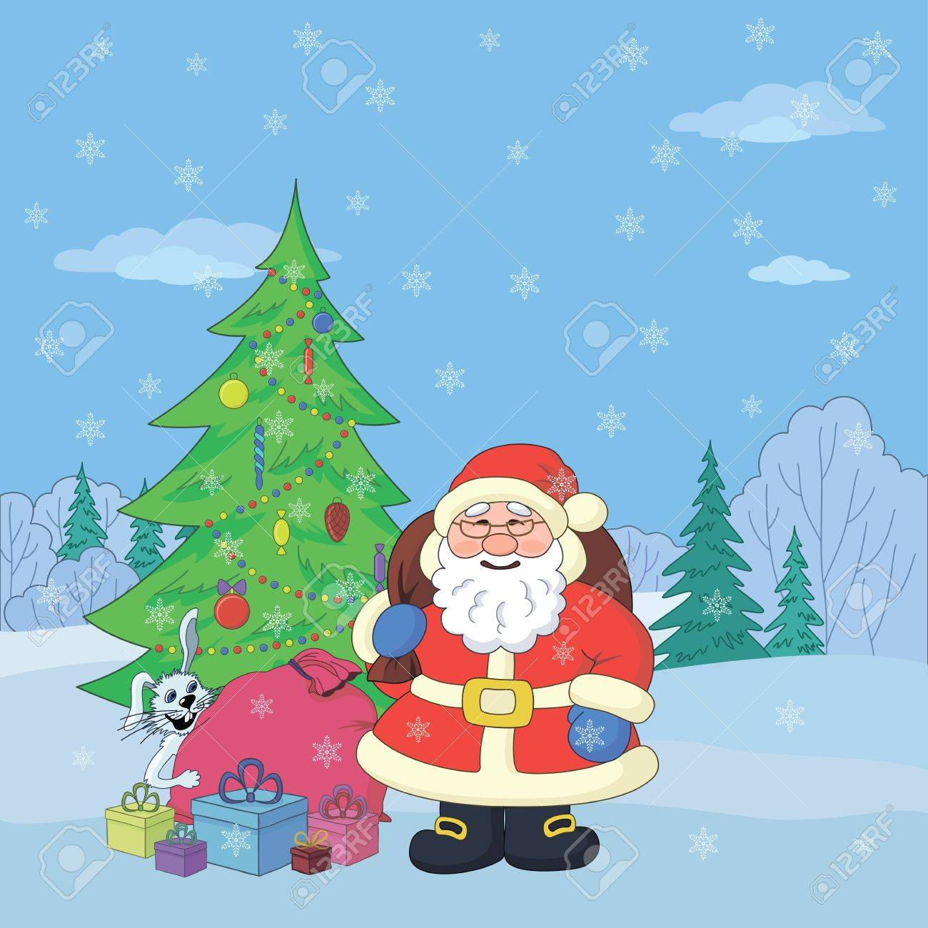 Christmas holiday cartoon  Santa Claus with gifts and a rabbit in the winter forest Stock Vector - 15259598