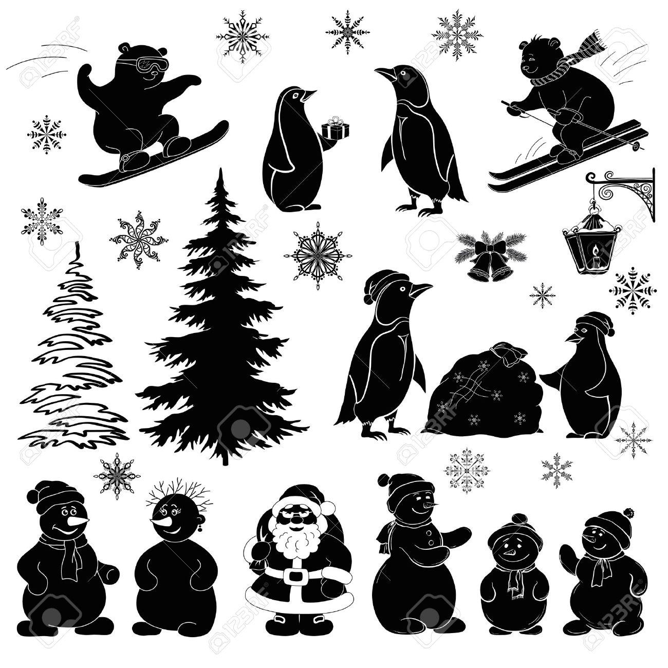 Christmas cartoon, set black silhouettes on white background Santa Claus, fir tree, teddy bears, penguins, sportsmans, snowflakes, lantern Vector - 15471340