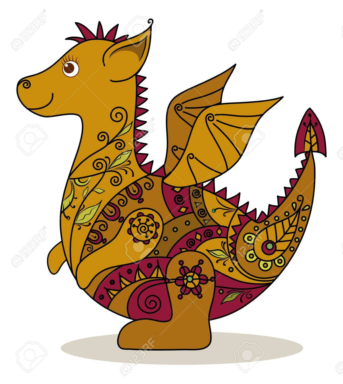 Cartoon Dragon with a floral pattern  Symbol of holiday East New year Stock Vector - 15551322