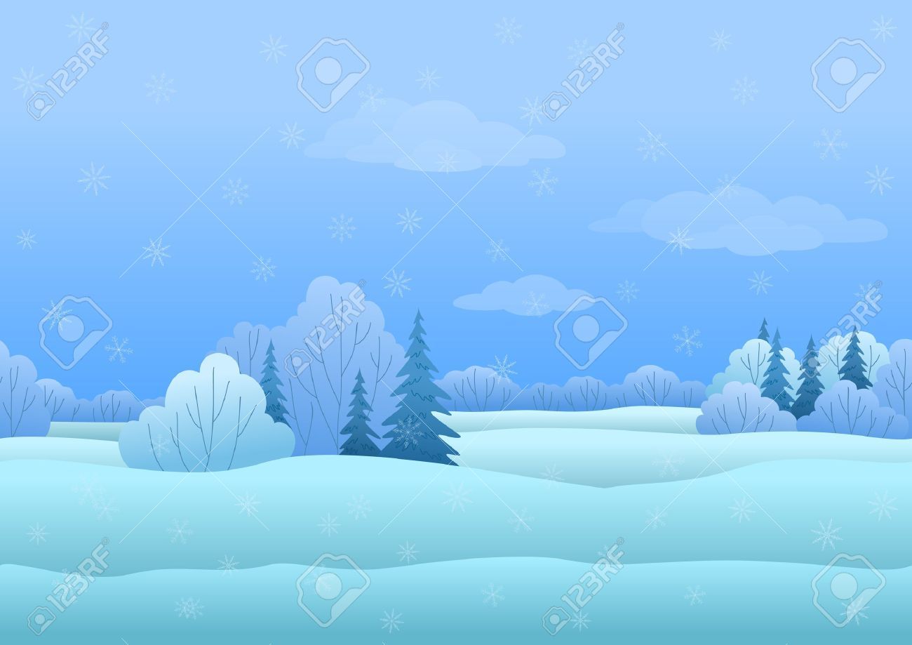 Seamless background, Christmas landscape  winter snowy forest Stock Vector - 15773618