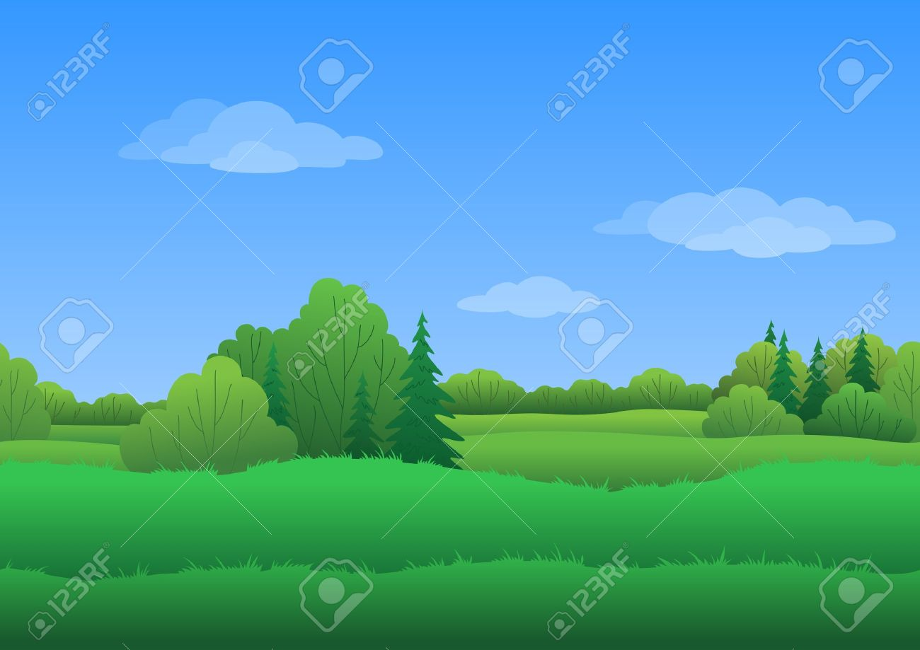 Seamless background, cartoon summer landscape: green forest and blue sky with white clouds. - 15859127
