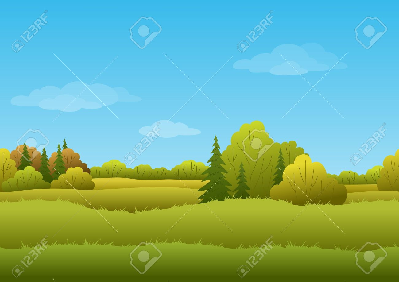 Seamless background, cartoon autumn landscape forest and sky - 16135034