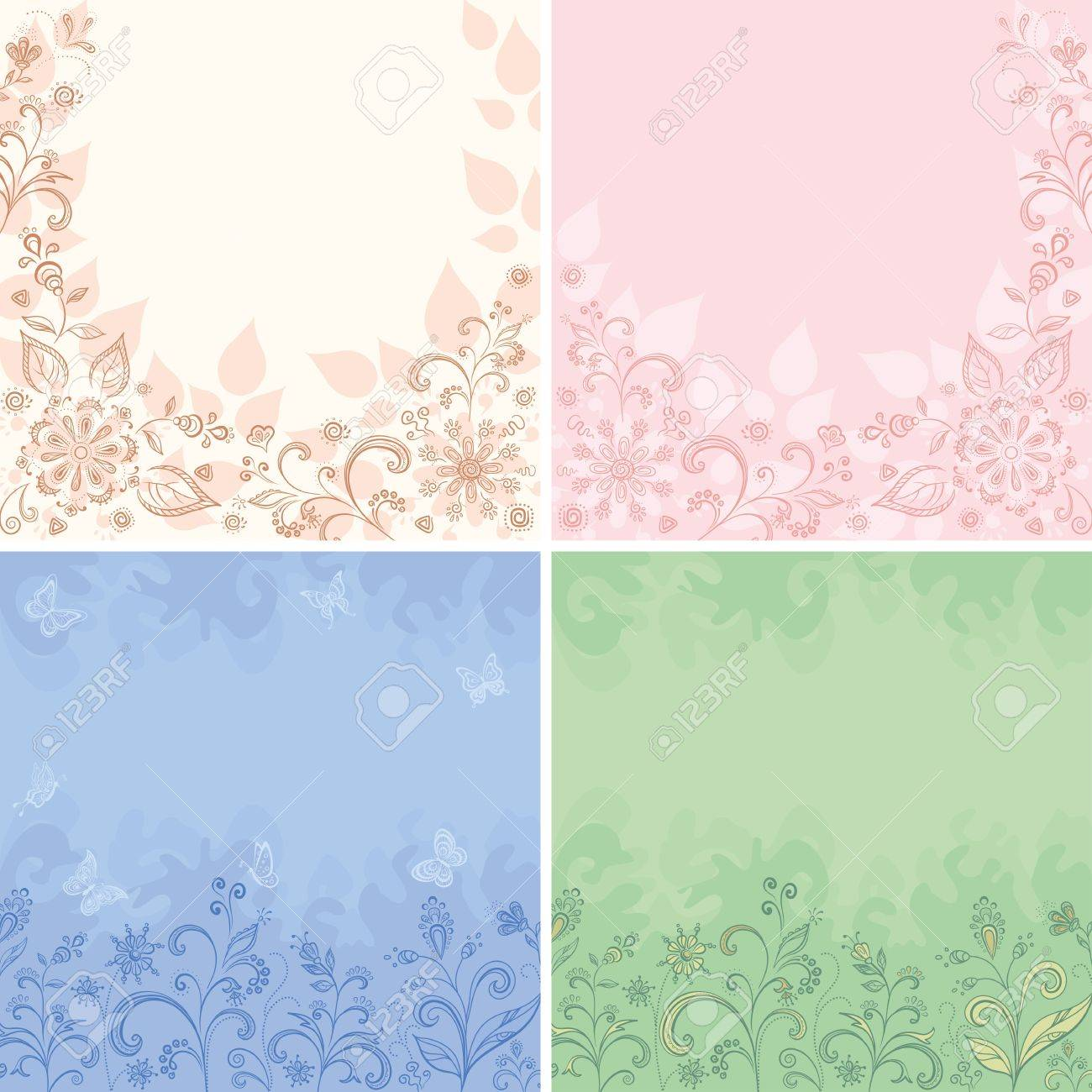 Set Abstract Floral Backgrounds Symbolical Flowers Butterflies