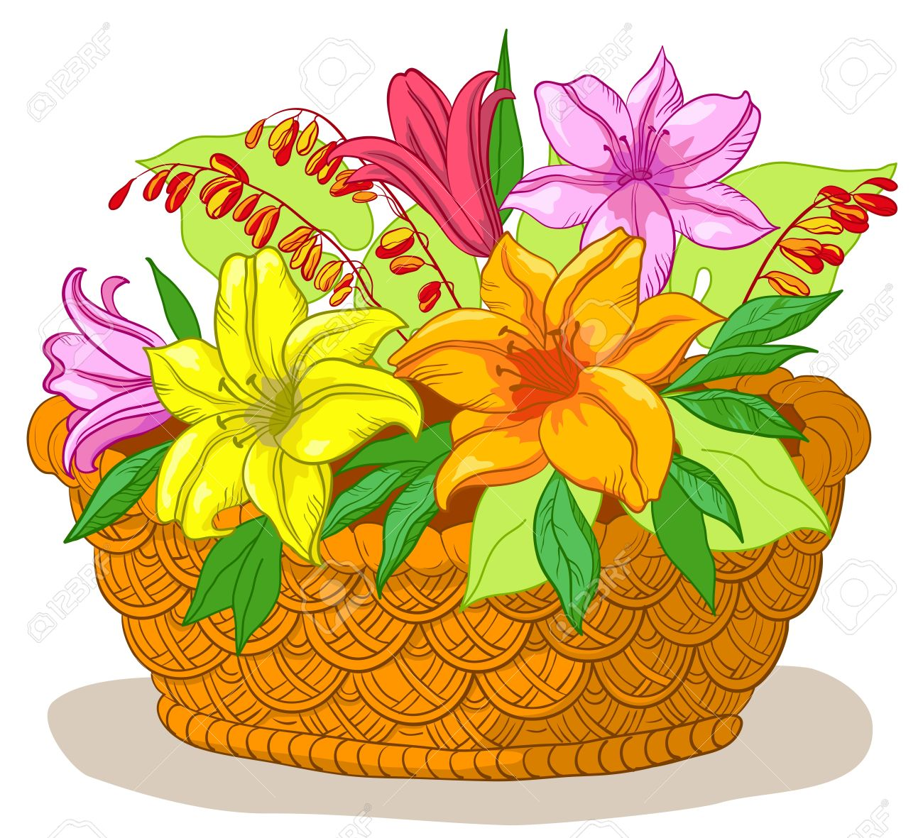 wattled basket with flowers lily and green leaves royalty free