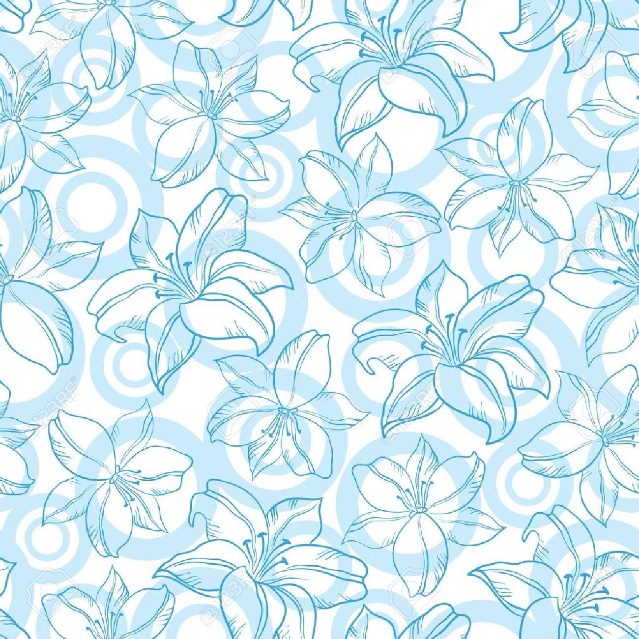 Seamless floral background, blue silhouette lily flowers and circles on white Stock Vector - 16551393